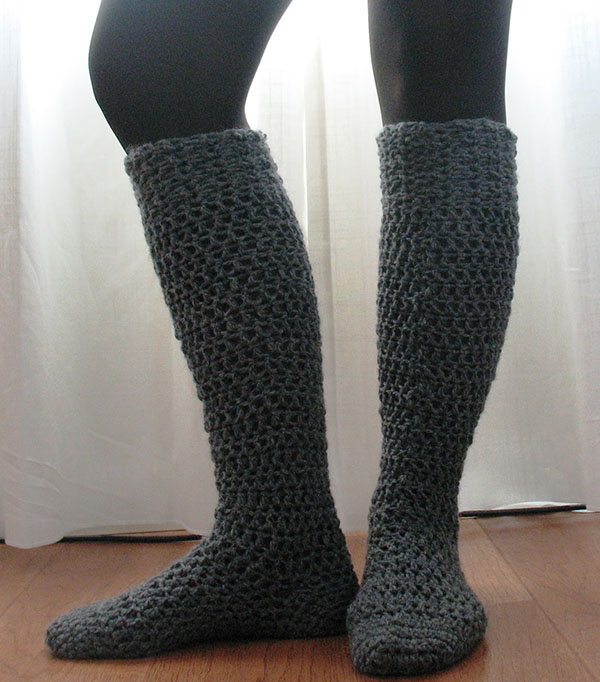 Crocheted Chunky Knee-High Socks